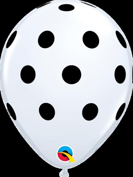 "11"" Qualatex Big Polka Dots White - 50 Ct."