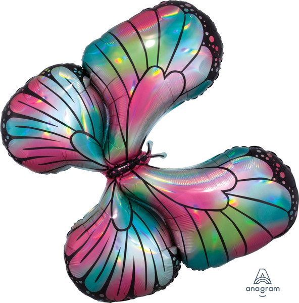 """30"""" Holographic Teal/Pink Butterfly"""