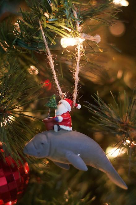 Santa on Manatee Ornament