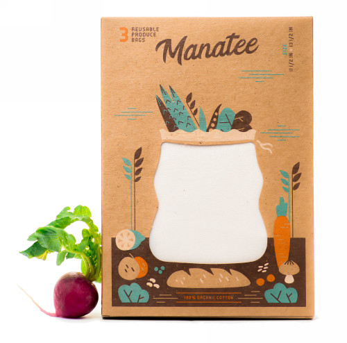 Organic Reusable Produce Manatee Bags - 3 Pack