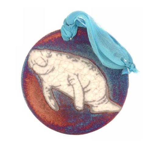 Manatee Medallion Ornament - Raku