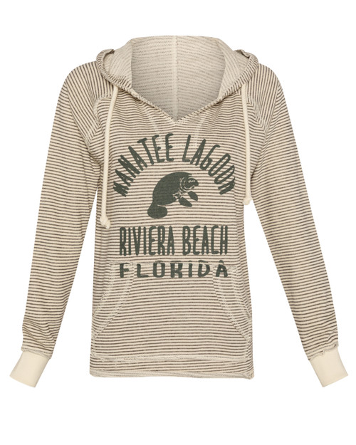 Baffled Manatee V Neck Ladies Hoodie