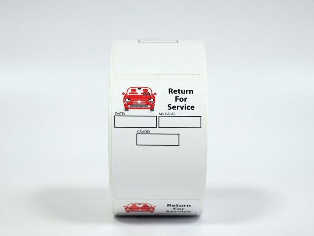 Roll of White low-tac adhesive generic oil change stickers - return for service.