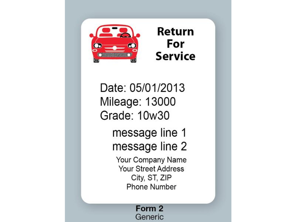 Red Car Return for Service Labels from OILabel.com (Details are printied using the printer)