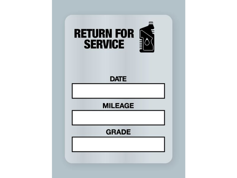 701948fe75bd7 Generic Oil Change Stickers - Return for Service - Clear Static Cling