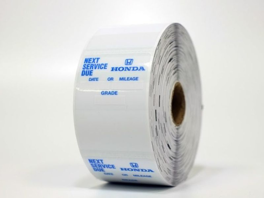 Honda Return for Service Oil Change Stickers - works with your sticker machine