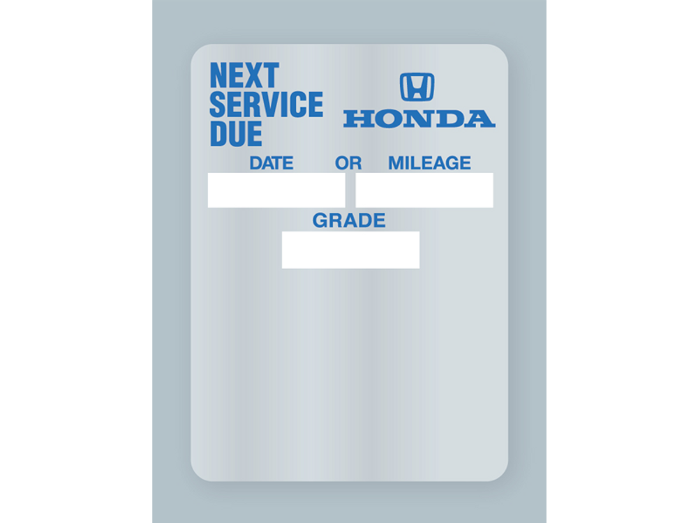 Honda Oil Change Stickers - Clear Static Cling