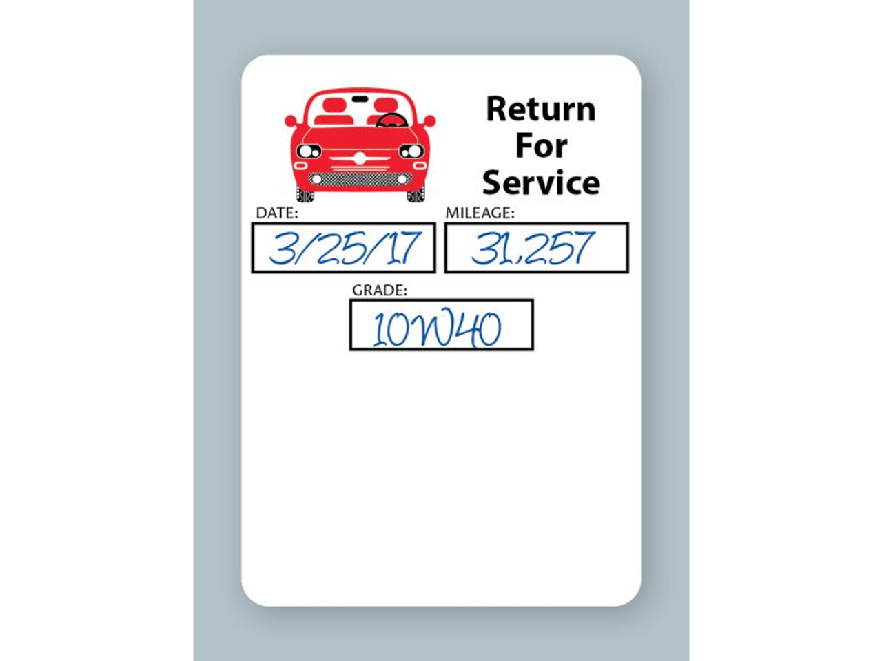 White low-tac adhesive generic oil change stickers - return for service.  (Example)