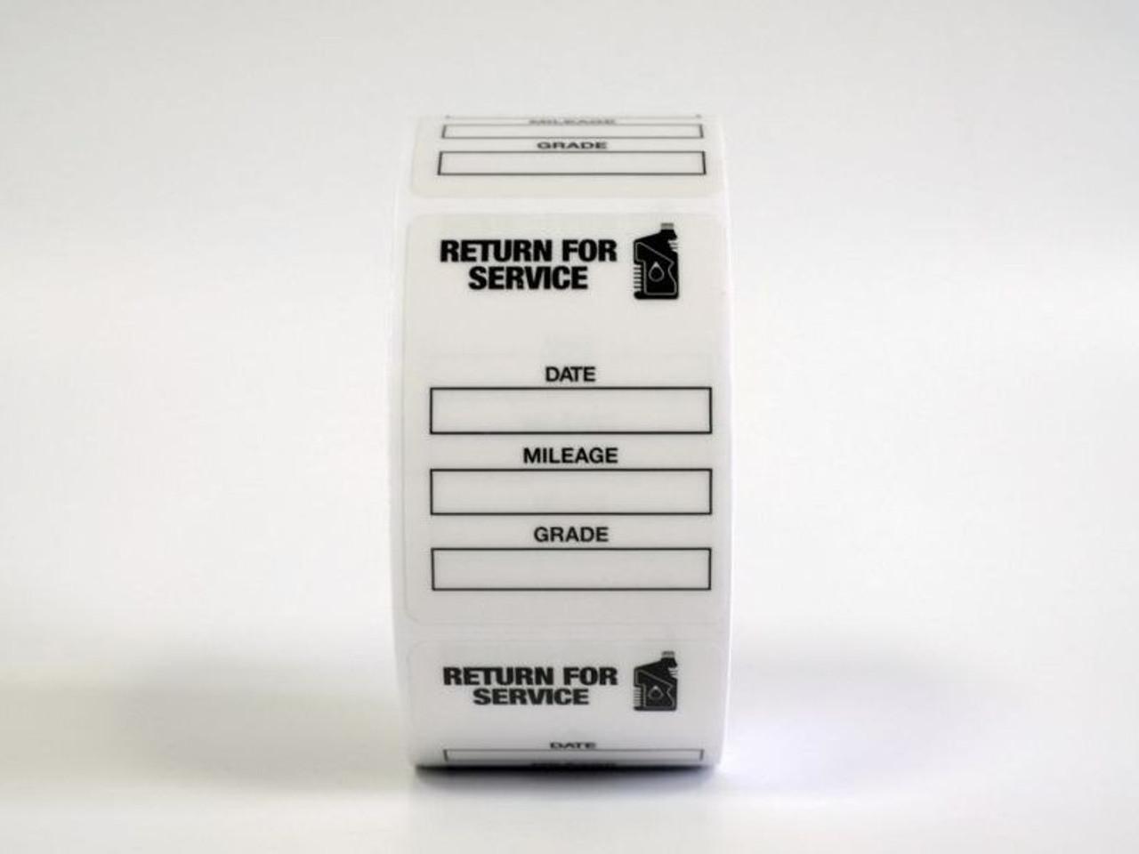 Roll of Generic Oil Change Labels - Handwritten Return for Service Black Oil Bottle
