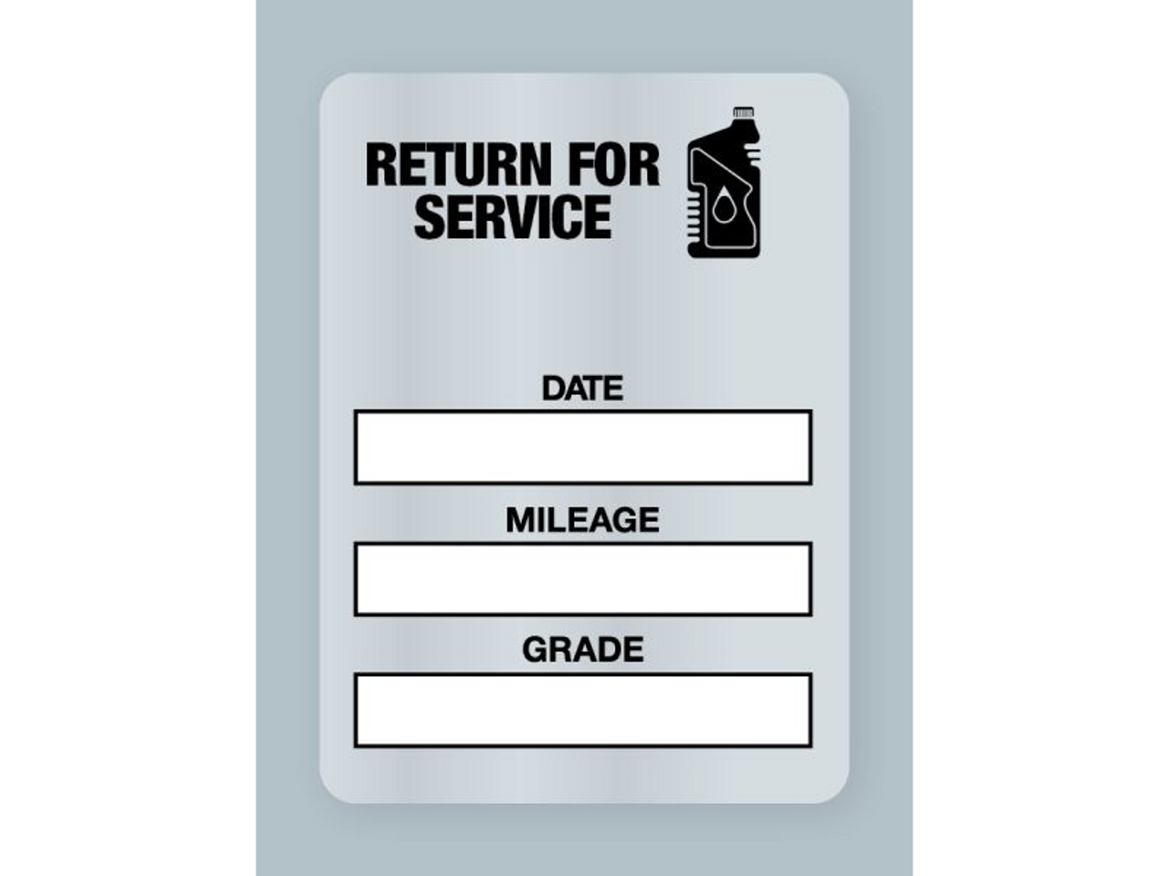 Generic Oil Change Stickers - Handwritten Return for Service Black Oil Bottle