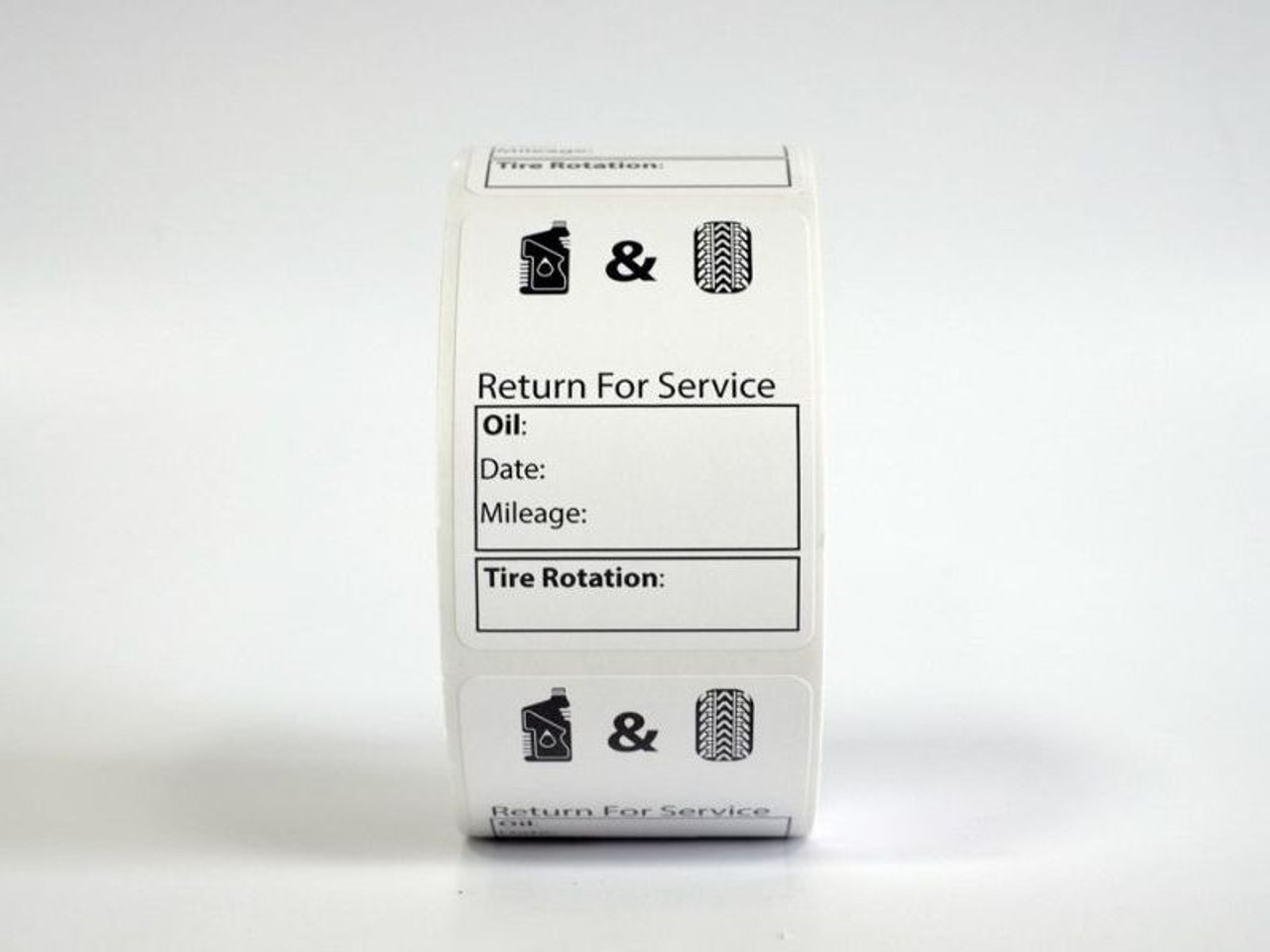 Roll of Generic Oil Change Labels- Handwritten Oil and Tire Service