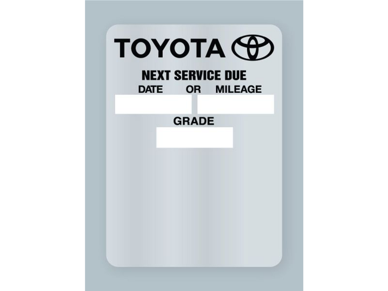 Toyota Oil Change Stickers Clear Static Cling