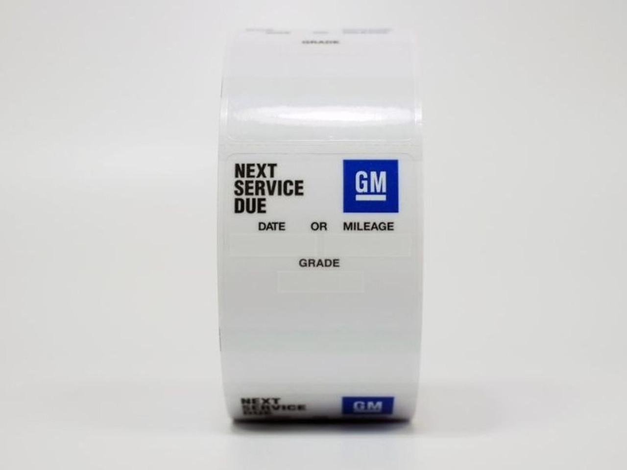 GM Oil Change Sticker - Handwritten or Printer Compatible