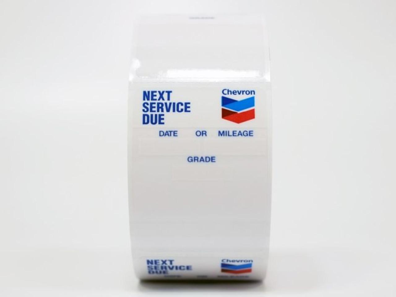 Oil Change Sticker with Chevron branding