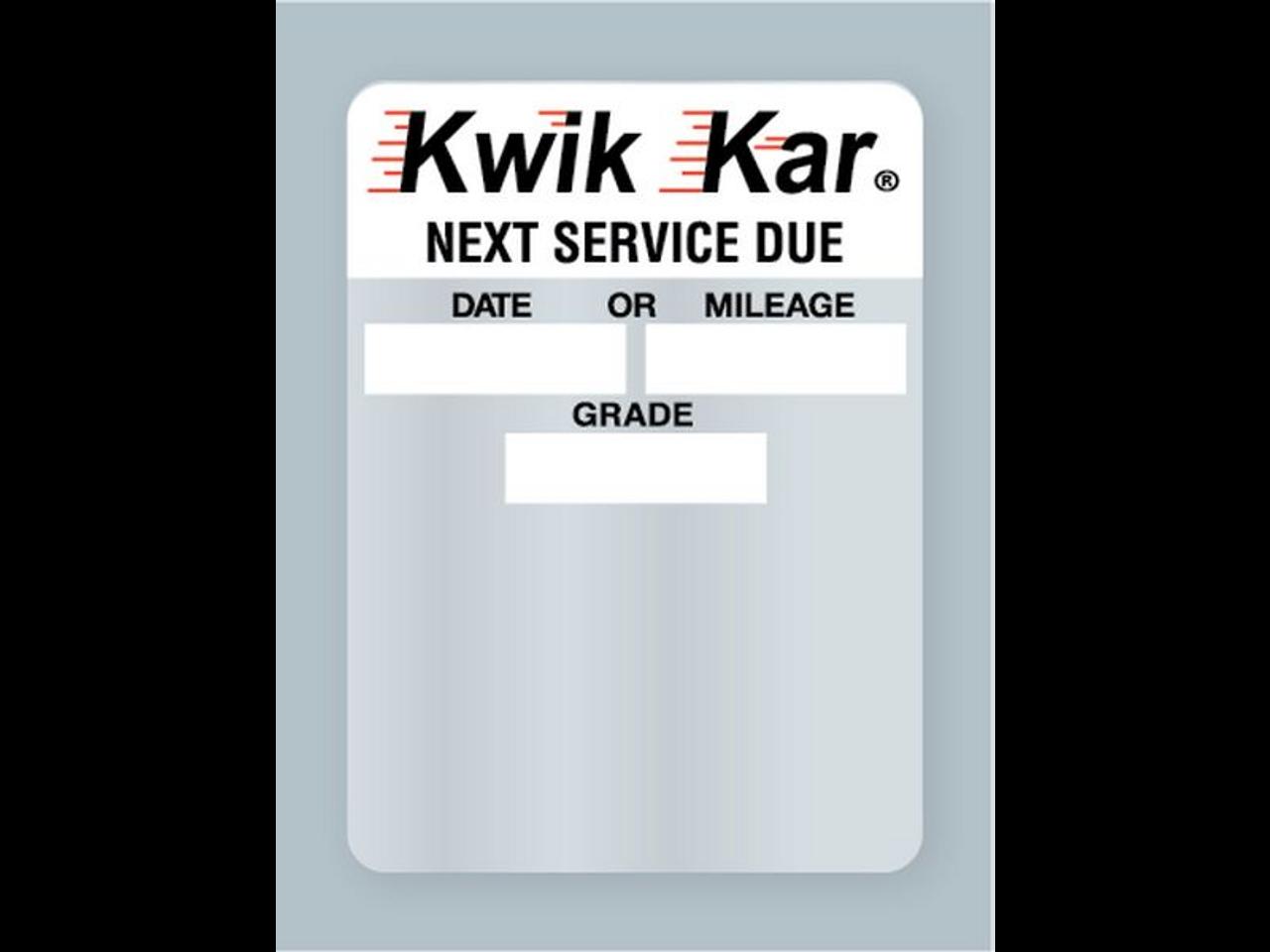 Kwik Kar Oil Change Sticker - Next Service Due Static Cling