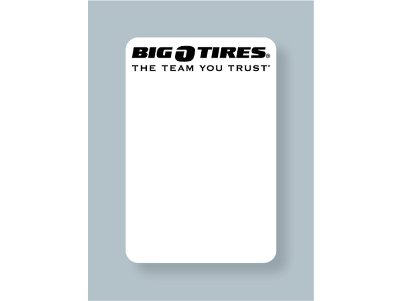 Big O Tires Oil Change Sticker - Blank for Printer Use