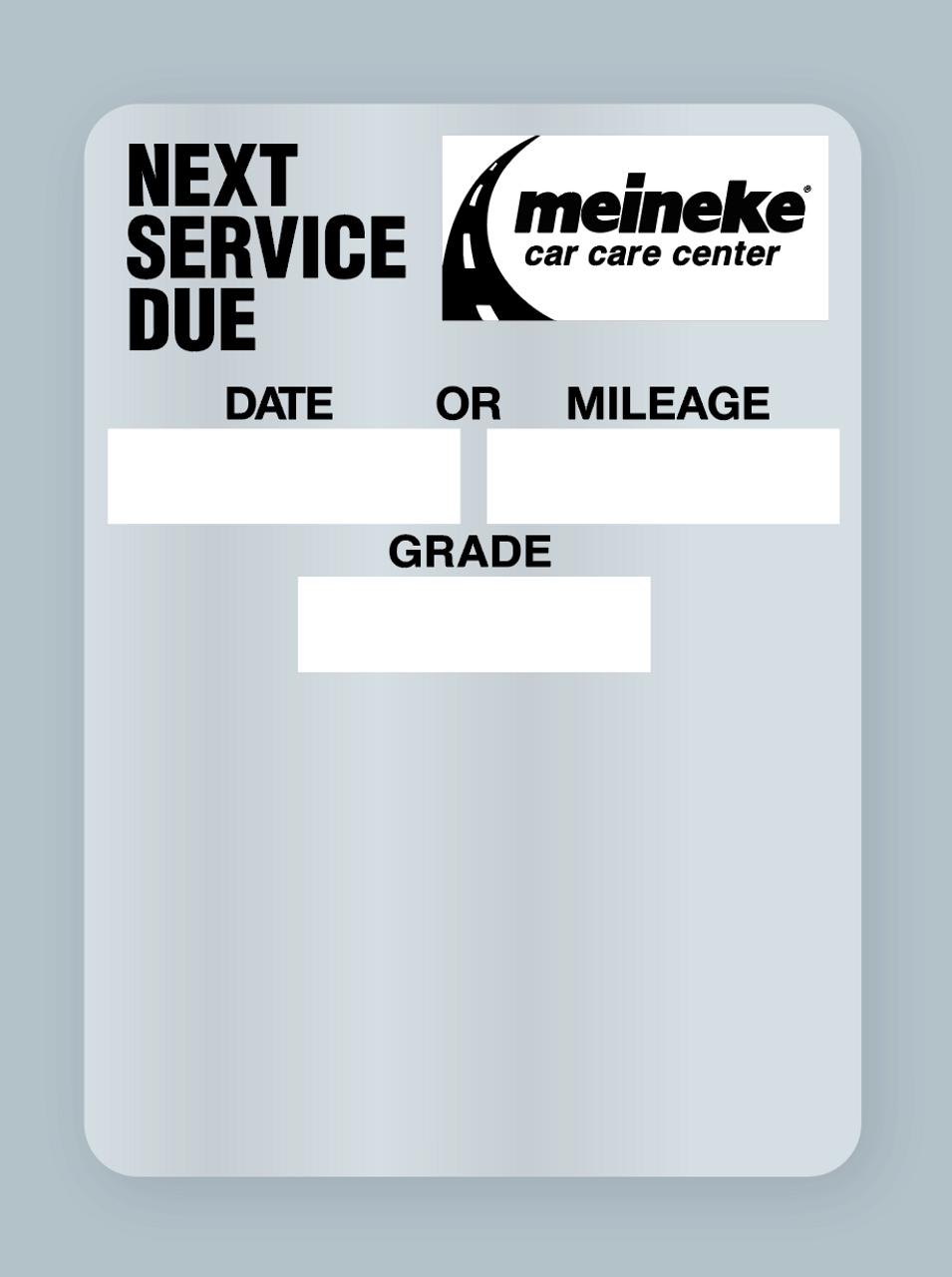 Meineke reminder sticker - next service due