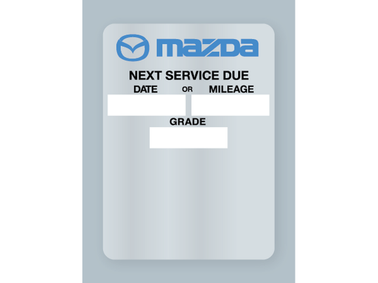 Mazda Oil Change Stickers - Clear Static Cling (Maz-1t)