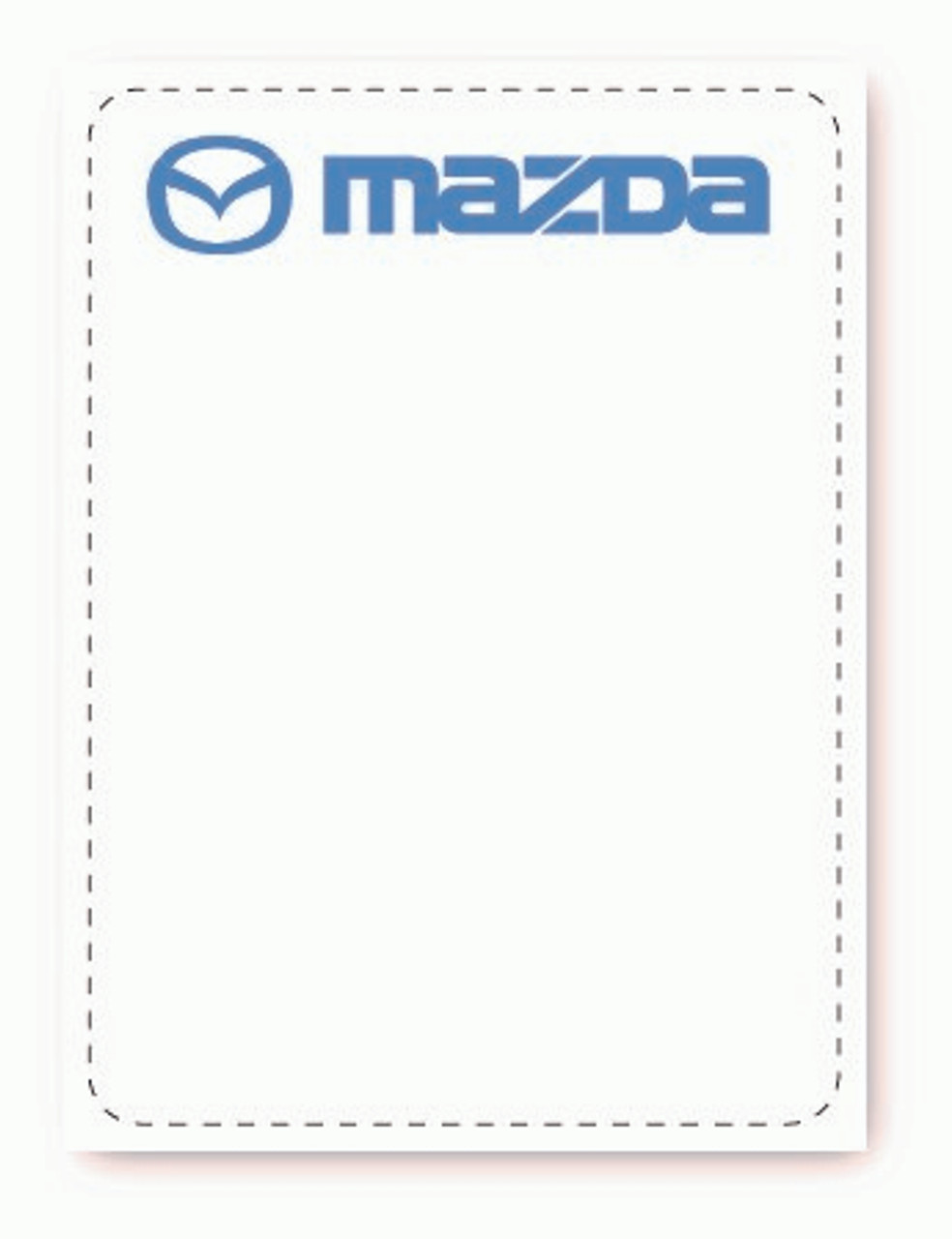 Mazda Oil Change Sticker - White Low Tac