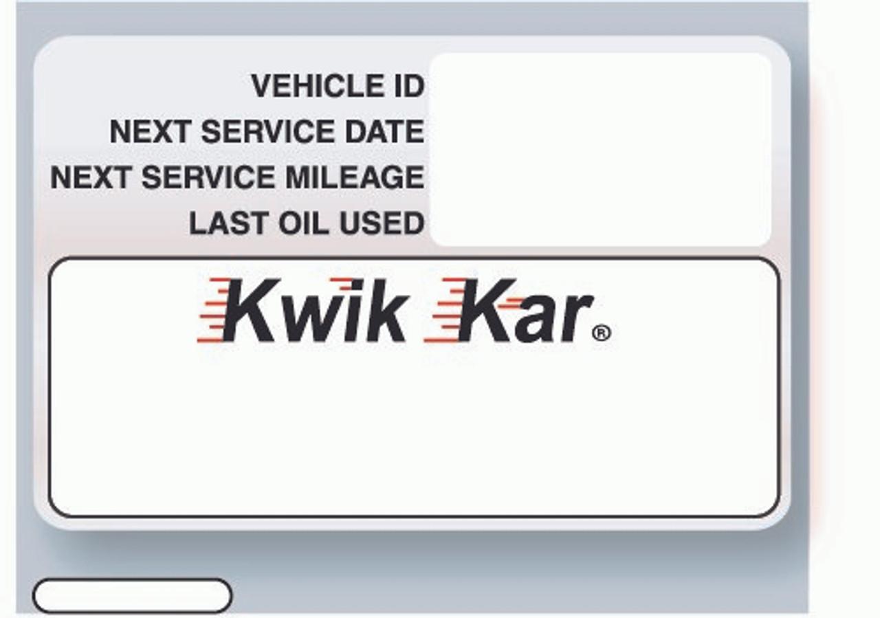 Kwik Kar Oil Change Stickers - ISI Printer Compatible