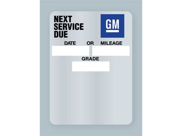 General Motors GM Oil Change Stickers.