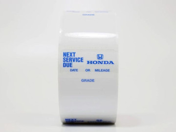 Honda Next Service Due Oil Change Stickers - works with your printer