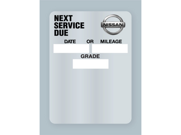 Nissan Oil Change Stickers - Static Cling