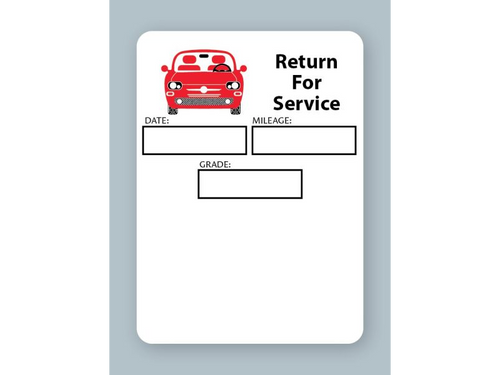 White low-tac adhesive generic oil change stickers - return for service.