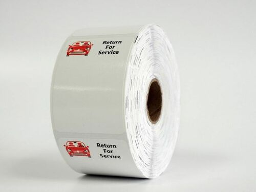 Roll of Red Car Return for Service Labels from OILabel.com