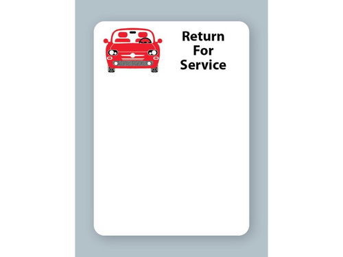 Printer compatible Generic Red Car Return for Service stickers from OILabel.com