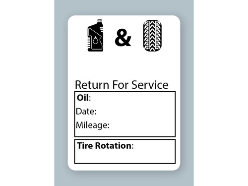 Generic Oil Change Stickers - Handwritten Oil and Tire Service