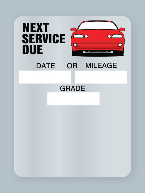 Generic Red Car Next Service Due Label