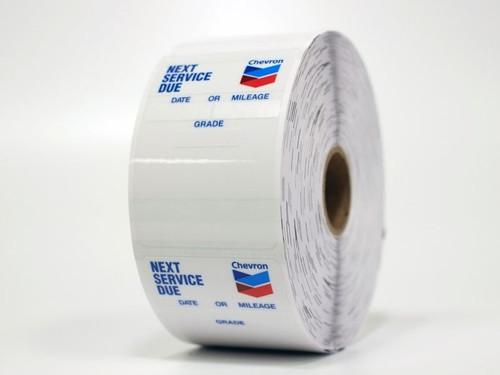 Rolls of 500 static cling oil change stickers - works in your printer!