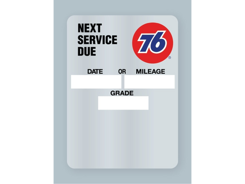 76-branded oil change stickers