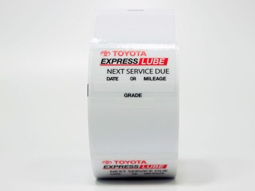 Toyota Express Lube Oil Change Stickers - handwritten or printer compatible