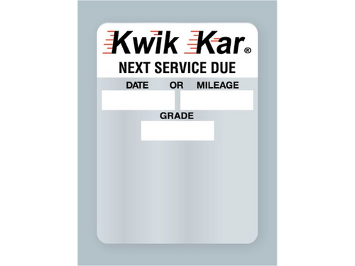 Kwik Kar Oil Change Sticker - Next Service Due Static Cling