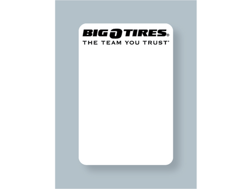 Big O Tires Oil Change Sticker - Blank for Printer Use