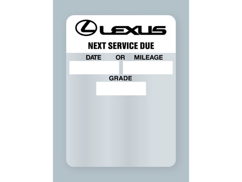 Lexus oil change stickers - static cling - works in your label printer