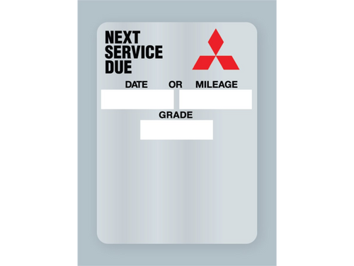 Mitsubishi Oil Change Stickers - Clear Static Cling. Rolls of 500