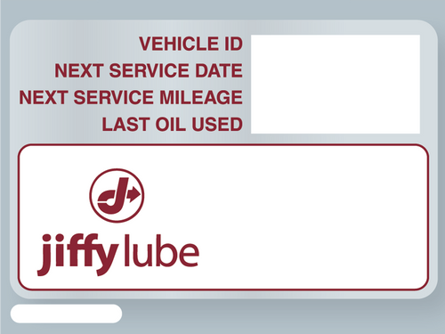Jiffy Lube service stickers formatted for the ISI system printer
