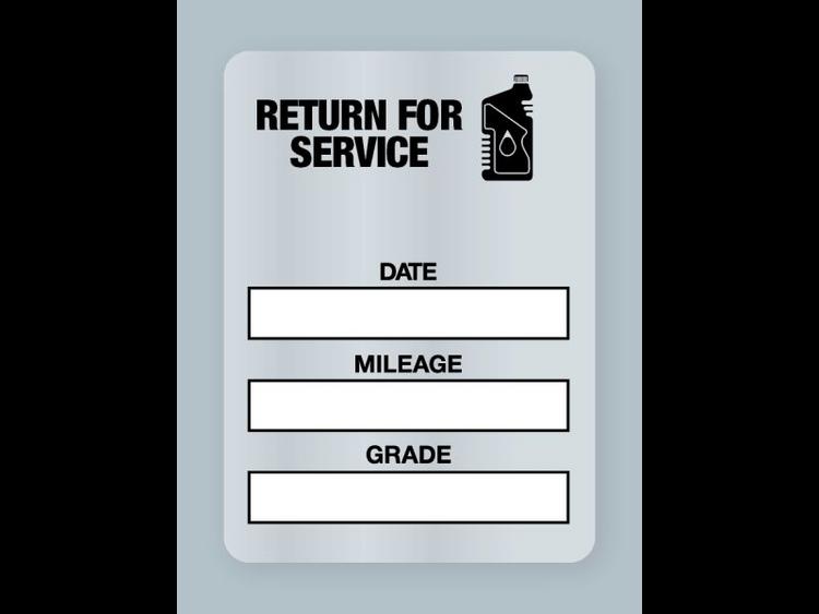 Generic Oil Change Stickers - Handwritten Return for Service Black Oil Bottle