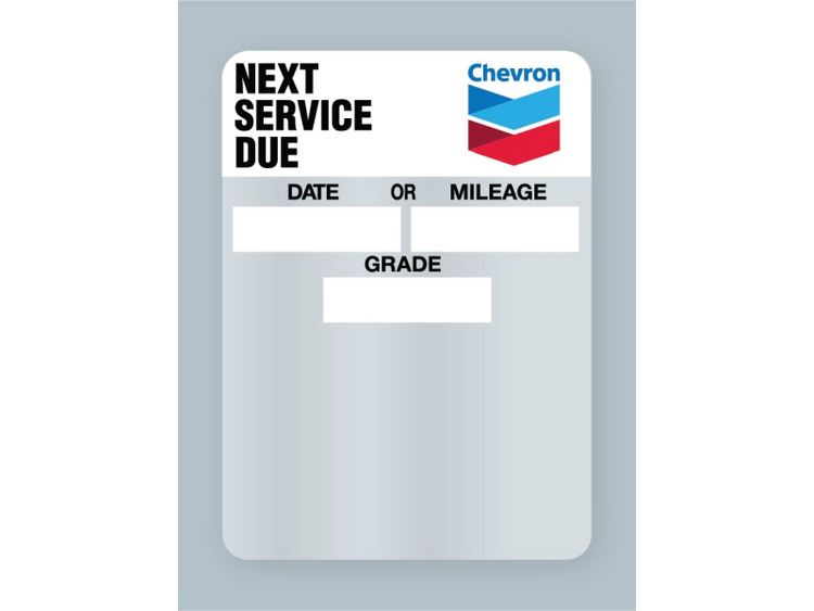 Clear Static Cling Oil Change Stickers with Chevron branding.