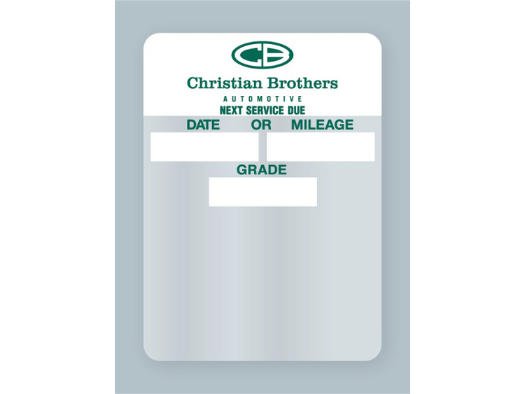 Christian Brothers Automotive Oil Change Sticker - rolls of 500!