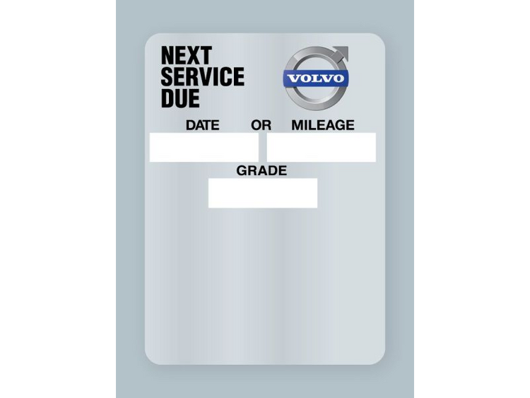 Volvo Oil Change Stickers - Clear static cling rolls of 500