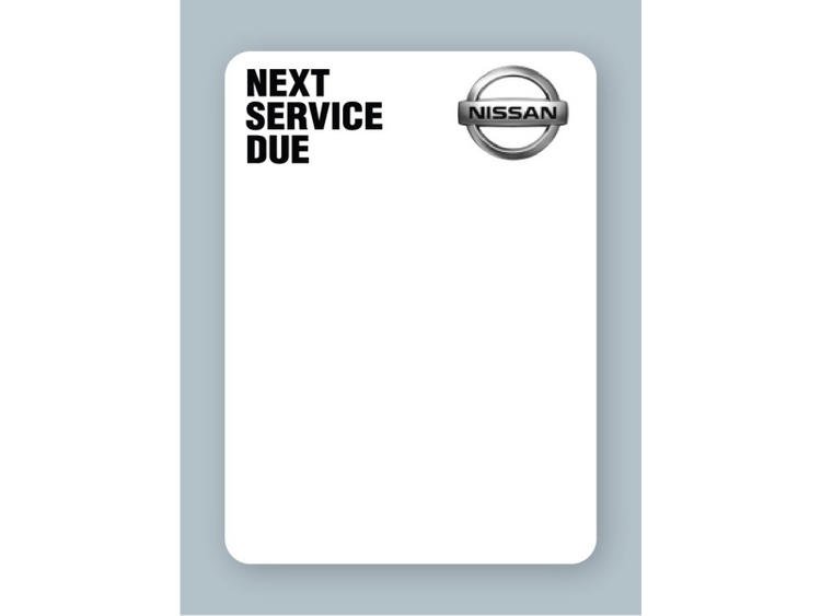Nissan Next Service Due stickers on white low-tac will work with many different oil change sticker printers. These labels will not leave a sticky residue on your customer's windshields!