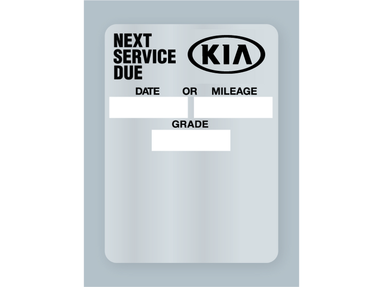 Kia Clear Static Oil Change Stickers for handwritten use or to be used in an oil change printer system