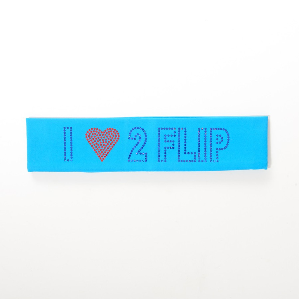 Bright Blue  Gymnastics Headband - I (heart) 2 FLIP