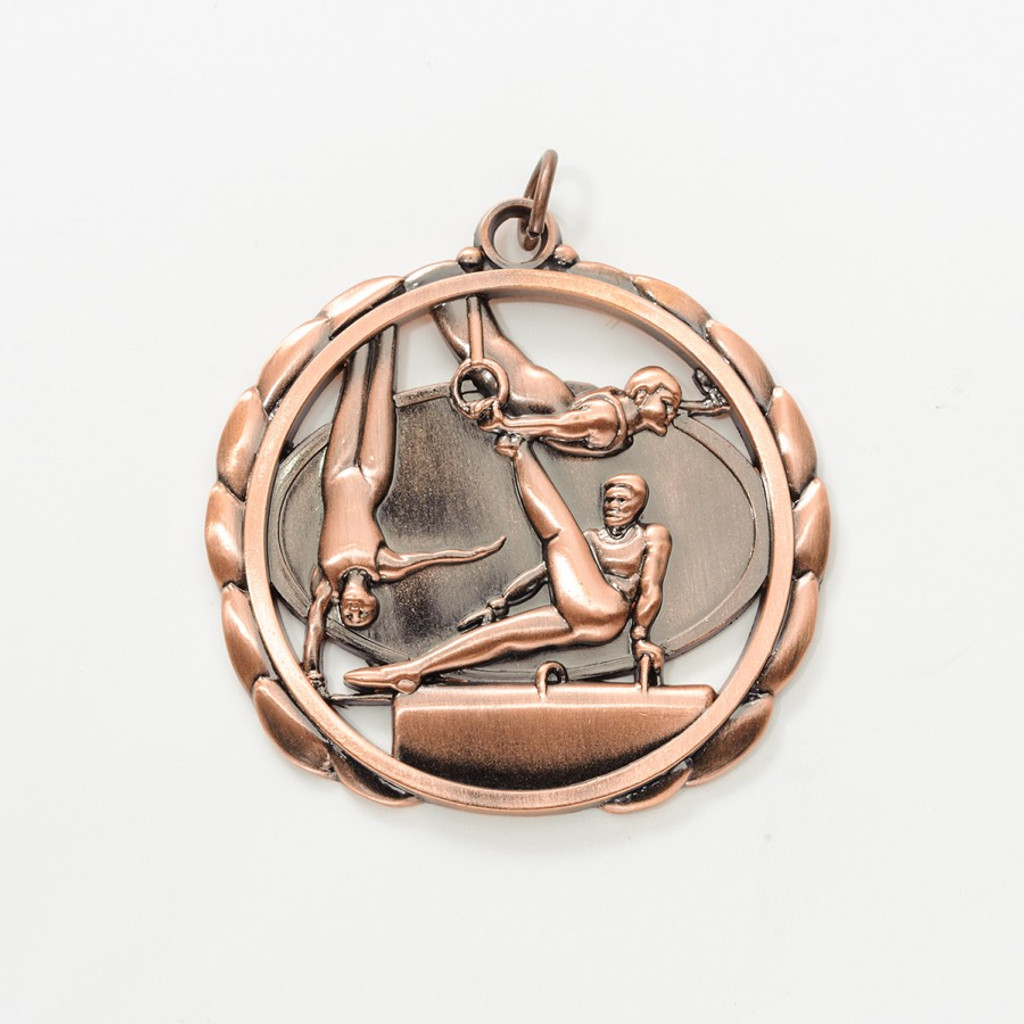 Male Gymnastics Cut Out Medal in Gold, Silver or Bronze