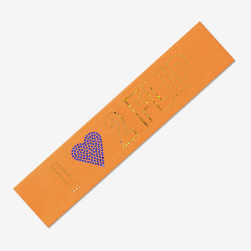 Orange  Gymnastics Headband - I (heart) GYMNASTICS