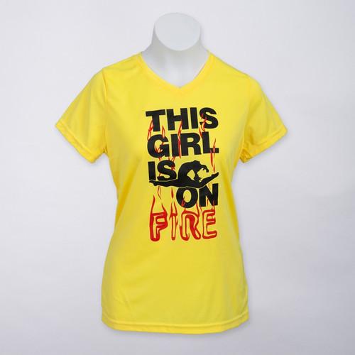 Gymnastics FIRE V-Neck Wicking T-Shirt